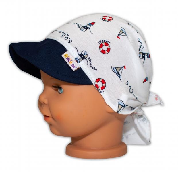 Baby Nellys Šátek na zavazování s kšiltem - Maják, vel.