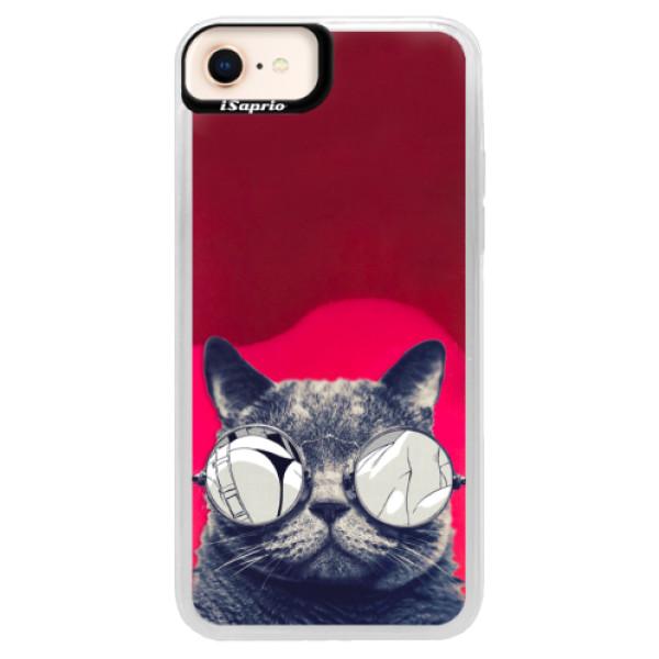 Neonové pouzdro Pink iSaprio - Crazy Cat 01 - iPhone 8
