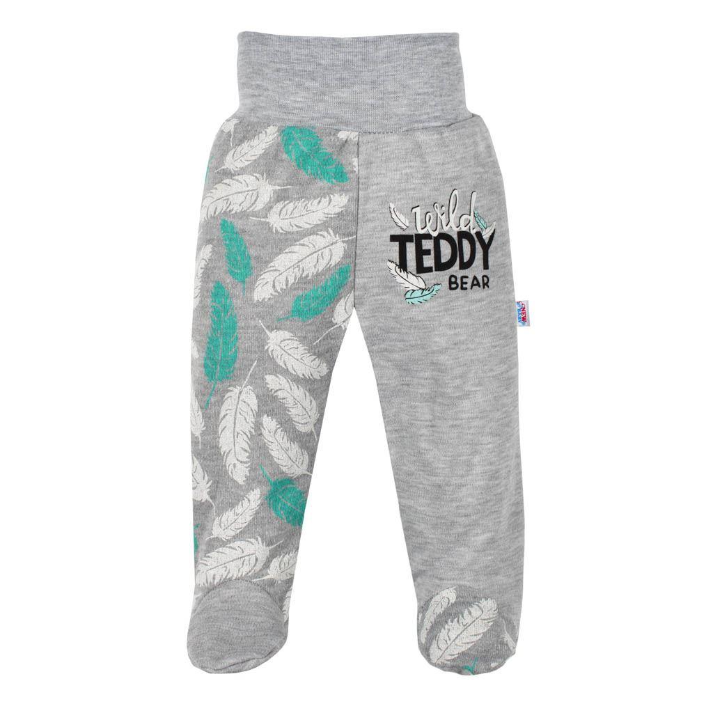 Kojenecké bavlněné polodupačky New Baby Wild Teddy - šedá/56 (0-3m)