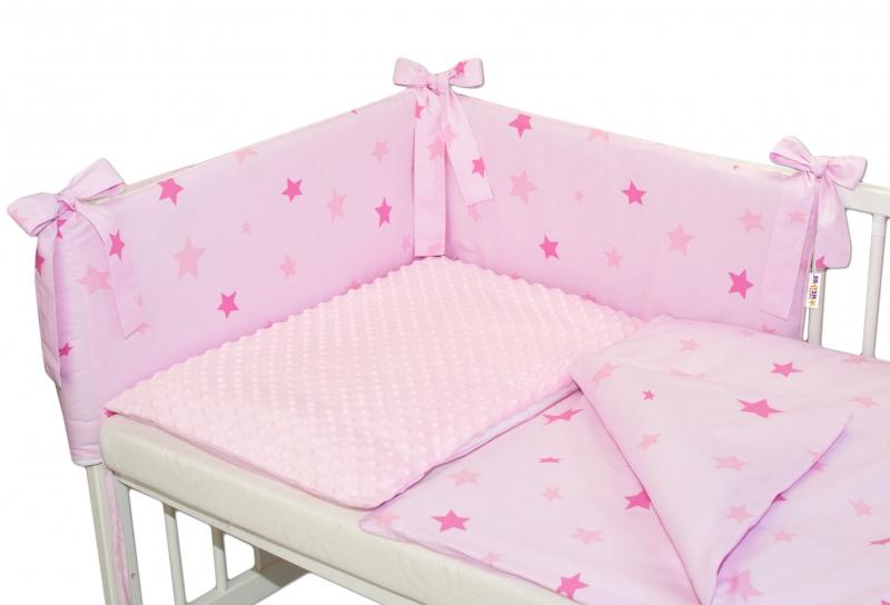 baby-nellys-3-dilna-sada-mantinel-s-povlecenim-minky-135x100-baby-stars-sv-ruzova-k19-135x100