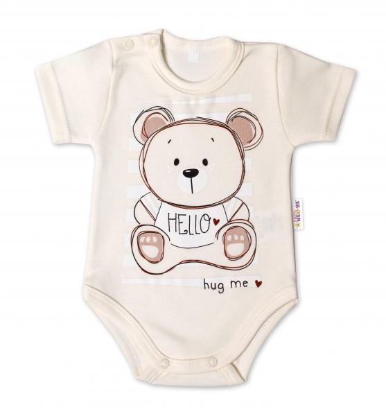Baby Nellys Bavlněné kojenecké body, kr. rukáv, Teddy