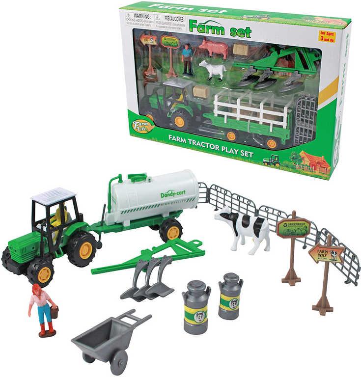 Farma herní set traktor s vlečkou s figurkami a doplňky plast - 2 druhy