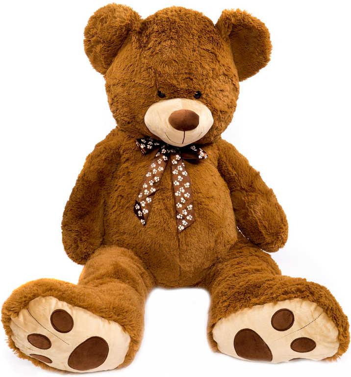 PLYŠ Medvěd tmavě hnědý s mašlí 130 cm