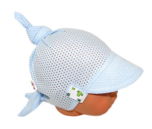 Baby Nellys Dětský síťkovaný šátek s kšiltem na zavazování, kaktus - sv. modrý - univerzální