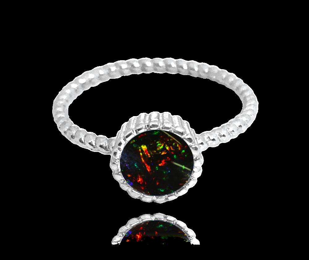 Stříbrný prsten MINET s černým opálkem vel. 53