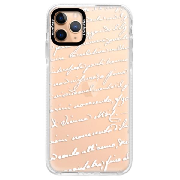 Silikonové pouzdro Bumper iSaprio - Handwriting 01 - white - iPhone 11 Pro Max