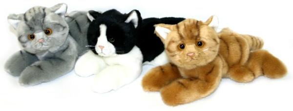 PLYŠ Kočka 15 cm ležící - 3 druhy