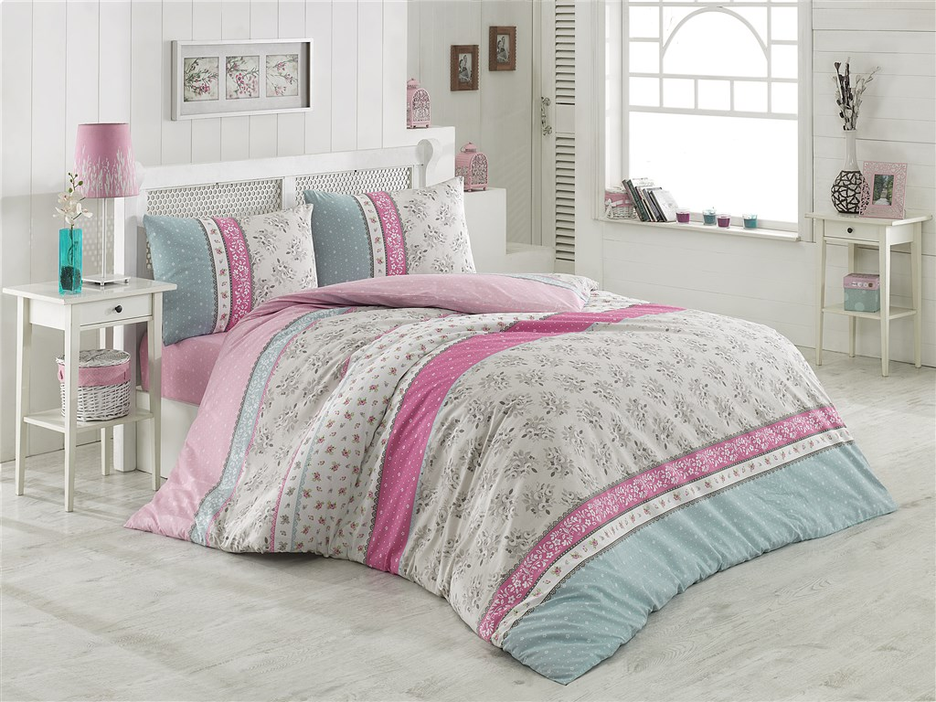 Povlečení francouzské bavlna 220x200,70x90 Mija růžová, Výběr zapínání: