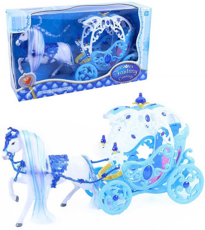 Herní set kočár s koněm pro princeznu zimní království plast