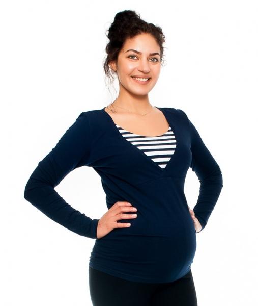 Be MaaMaa Těhotenské/kojící triko - proužek , dlouhý rukáv