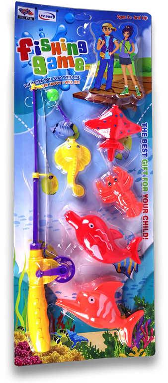 Hra chytání rybiček sada prut s návnadou + 5 rybiček malý rybář na kartě
