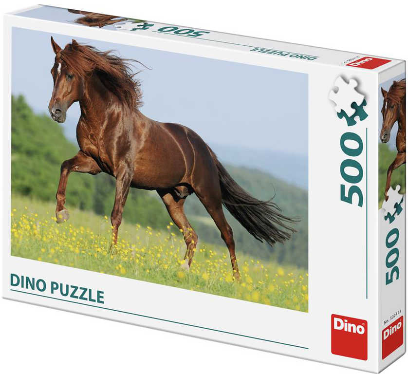 DINO Puzzle Kůň na louce foto 500 dílků 47x33cm skládačka v krabici