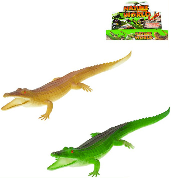 Krokodýl pískací 30 cm plastové zvířátko - 2 barvy