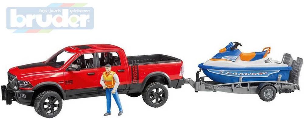 BRUDER 02503 Auto RAM 2500 s přívěsem set s figurkou a vodním skútrem 1:16
