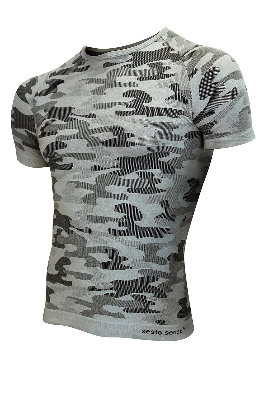 Termoaktivní tričko s krátkými rukávy Sesto Senso Militaria - Moro