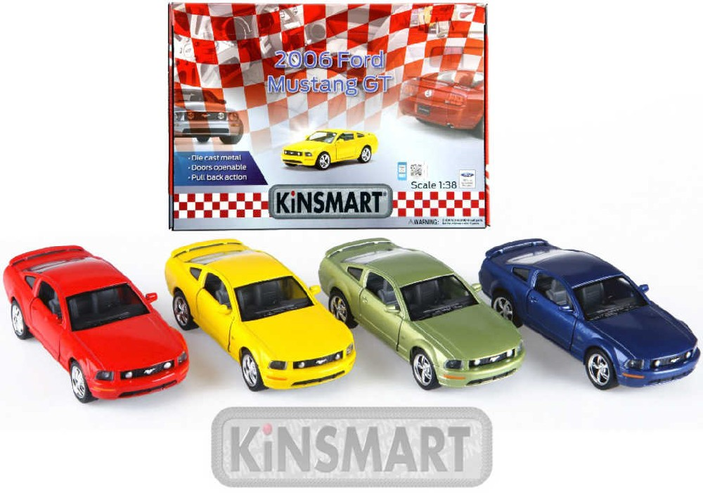 KINSMART Auto model 1:36 FORD MUSTANG GT 2006 kov PB 13 cm - 4 barvy