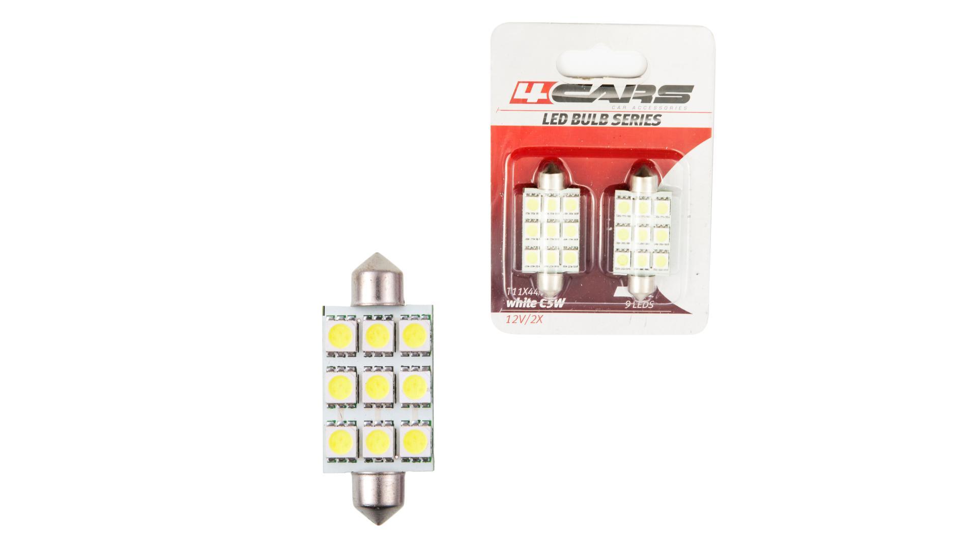4CARS LED žárovka 9LED 12V Festoon 5050SMD T11x44mm