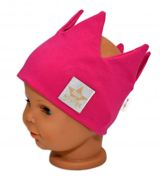 baby-nellys-hand-made-bavlnena-celenka-dvouvrstva-korunka-tm-ruzova-1-3roky-1-3-roky