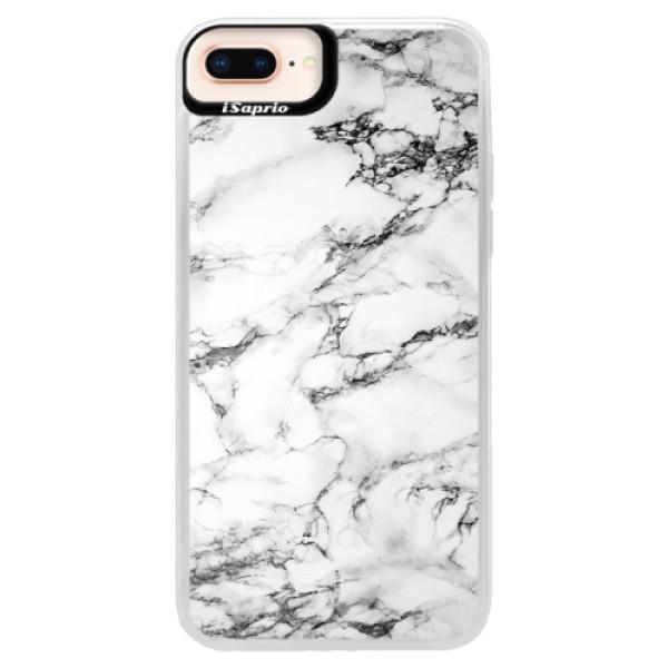 Neonové pouzdro Pink iSaprio - White Marble 01 - iPhone 8 Plus