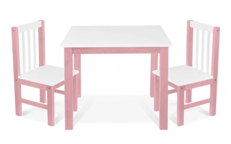 BABY NELLYS Dětský nábytek - 3 ks, stůl s židličkami - růžová, bílá, A/07