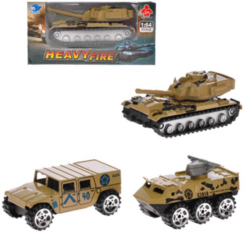 Vozidlo vojenské obrněné auto 1:64 7cm kovové zpětný nátah - 3 druhy