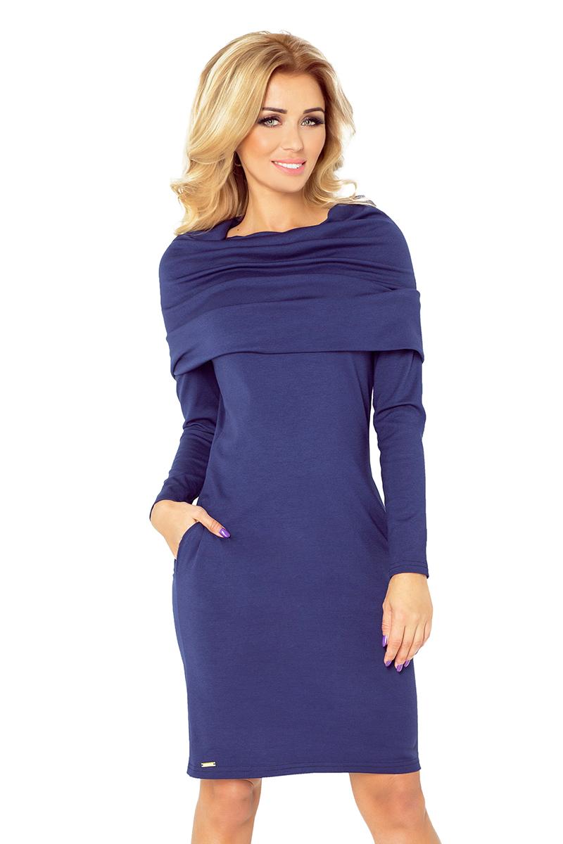 Tmavě modré šaty s rolákem 131-5