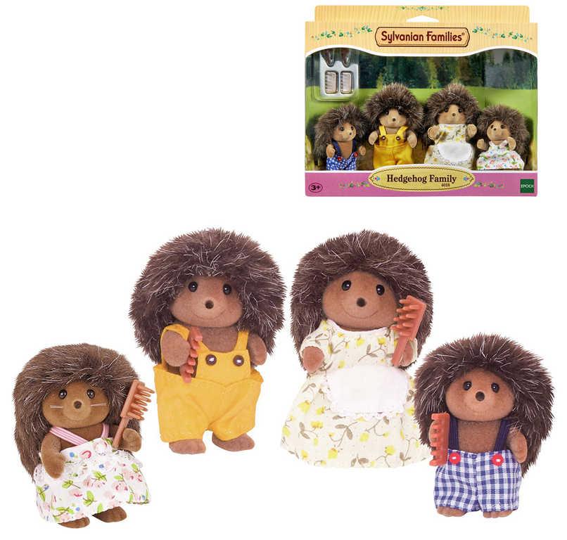Sylvanian Families Rodina ježků set 4ks s doplňky na česání v krabici