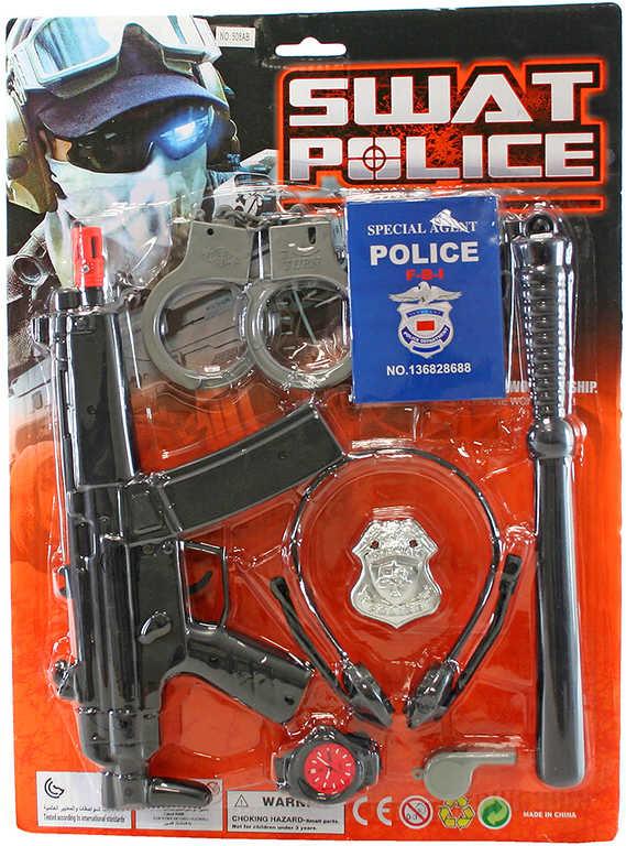 Sada policejní velká samopal 29cm s pouty a doplňky 8ks na kartě plast