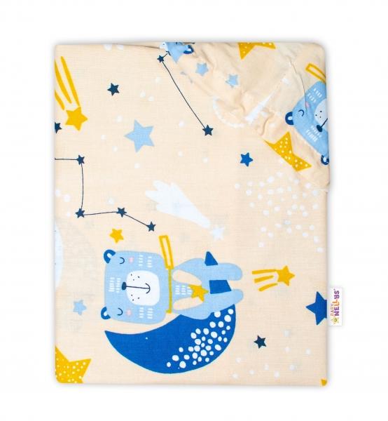 Baby Nellys Bavlněné prostěradlo 70 x 140 cm - Medvídek a hvězdy, béžové - 140x70