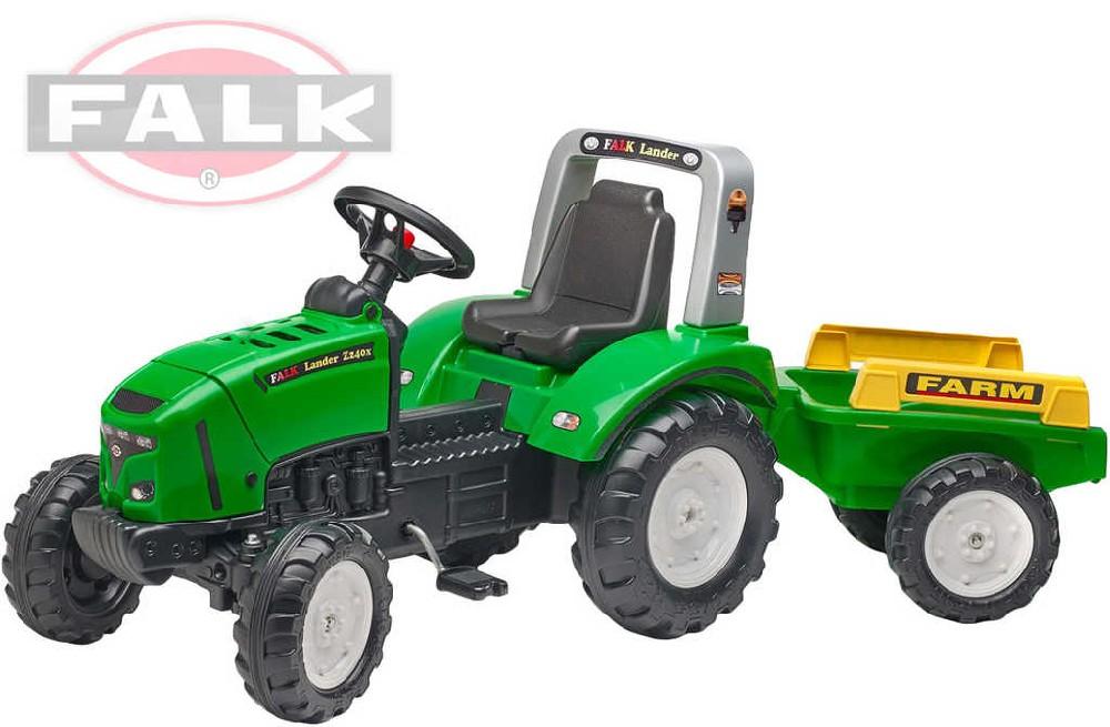 FALK Traktor šlapací Lander 240X s valníkem a odklápěcím motorem zelený plast