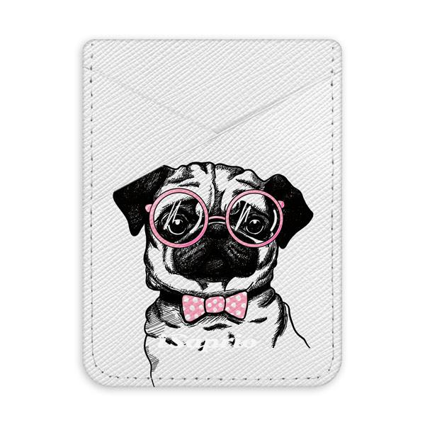 Pouzdro na kreditní karty iSaprio - The Pug - světlá nalepovací kapsa