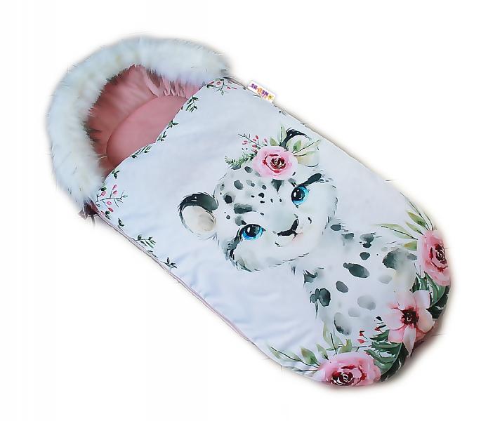 fusak-baby-nellys-winter-friends-lux-velvet-s-kozesinkou-105x55-cm-gepardik-pudrova