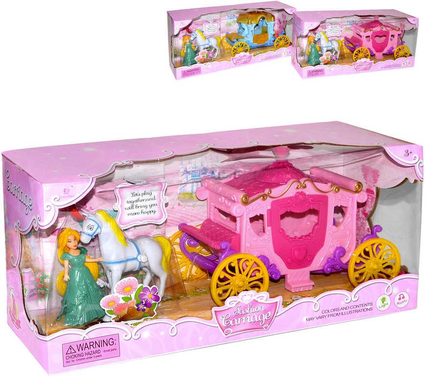 Kočár královský set s koníkem a princeznou na baterie Světlo Zvuk 2 druhy v krabici