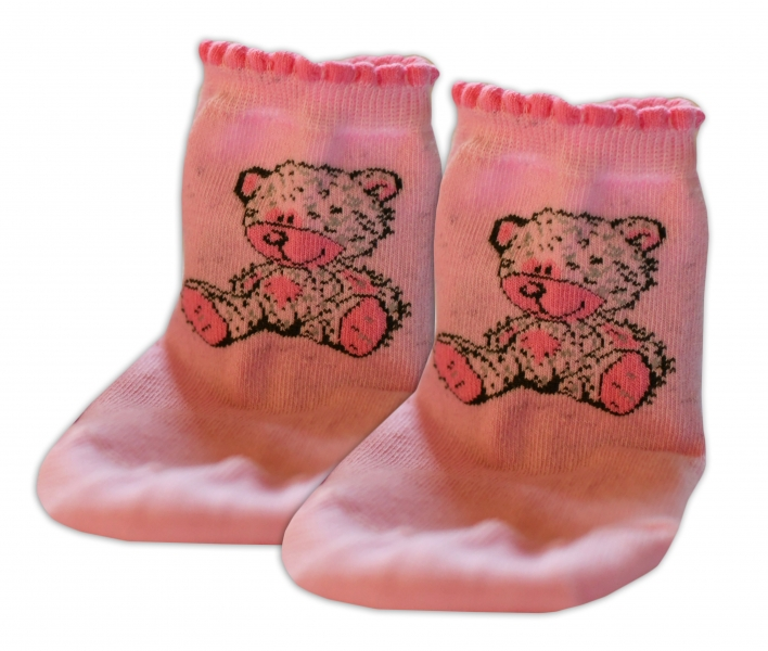Baby Nellys Bavlněné ponožky Teddy - světle růžové, vel.