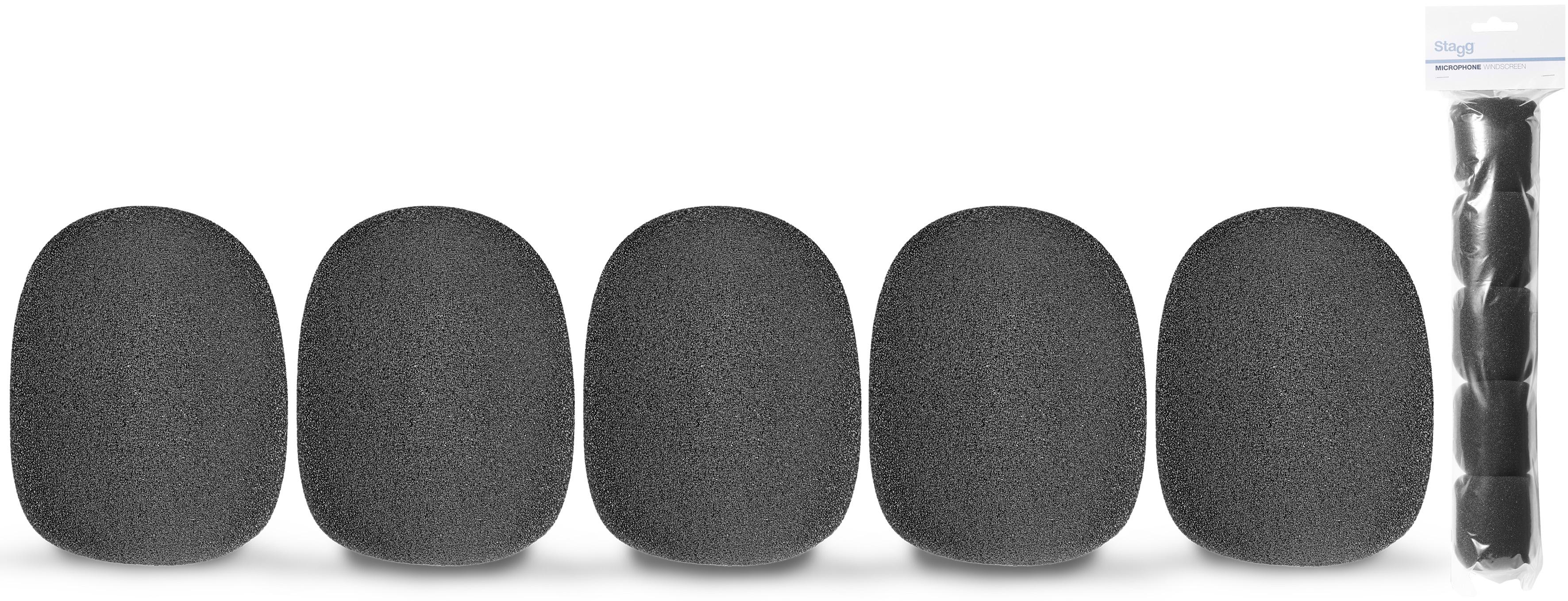 Stagg WS-S35/B5, kryty mikrofonní černé, sada 5 ks