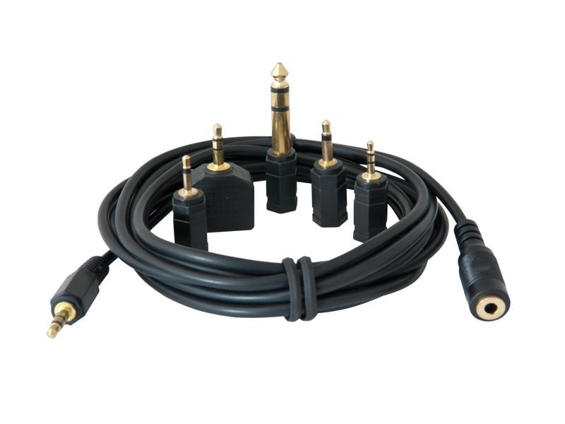Sluchátkový prodlužovací kabel 3 m + set redukcí