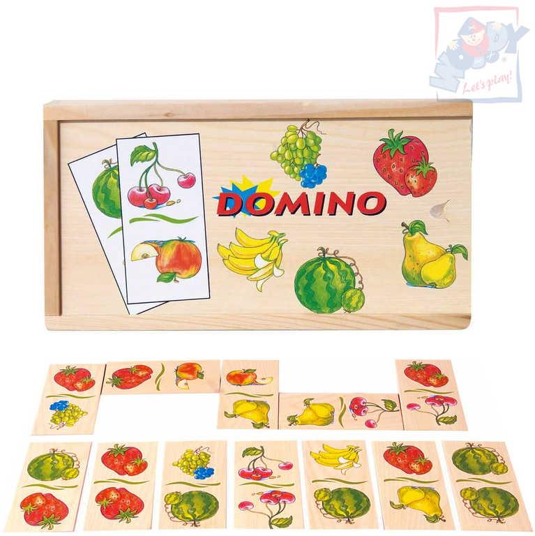 WOODY DŘEVO Hra domino ovoce 28 dílků v krabičce *DŘEVĚNÉ HRAČKY*