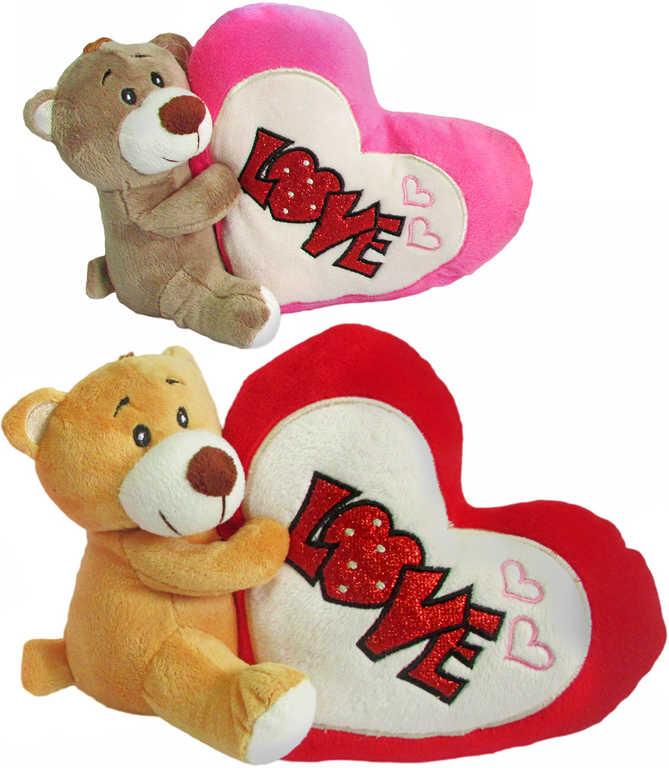 PLYŠ Medvídek Valentýn 16cm se srdcem love 2 barvy *PLYŠOVÉ HRAČKY*