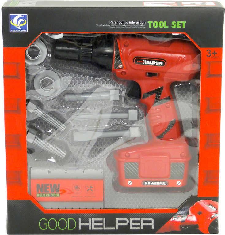Aku vrtačka dětská červená na baterie set s nástavci a doplňky plast