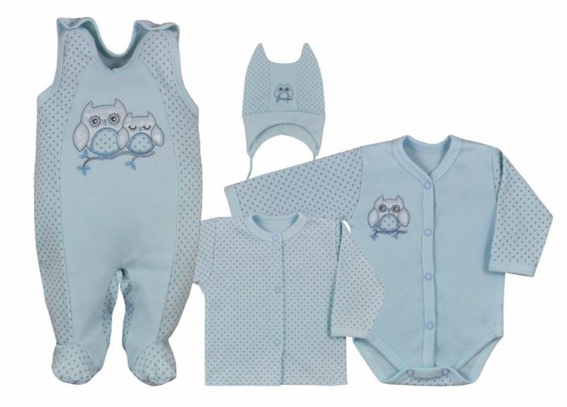 Koala Baby 4 dílná bavlněná soupravička do porodnice Sovička