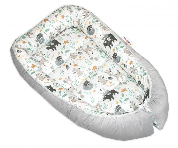Oboustranné hnízdečko Baby Nellys Velvet, 55x75cm, Wild Animals - šedý velvet