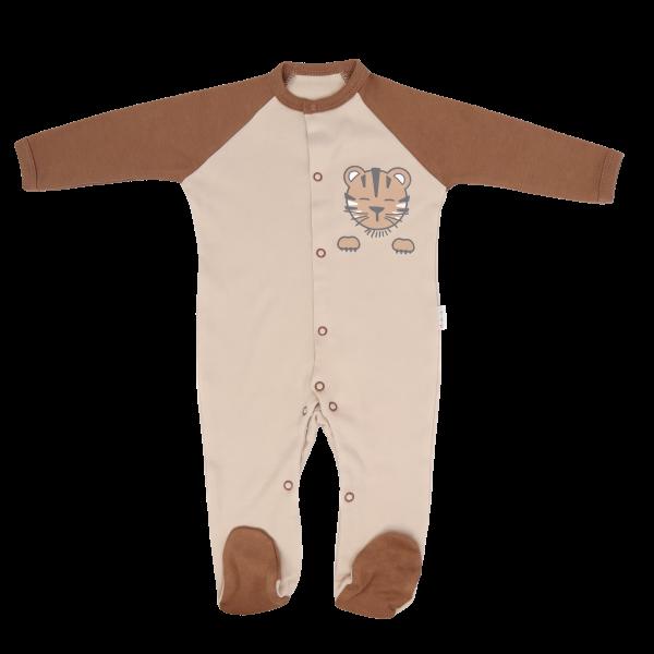 Mamatti Kojenecký bavlněný overálek Lion, béžovo-hnědý, vel. 74 - 74 (6-9m)