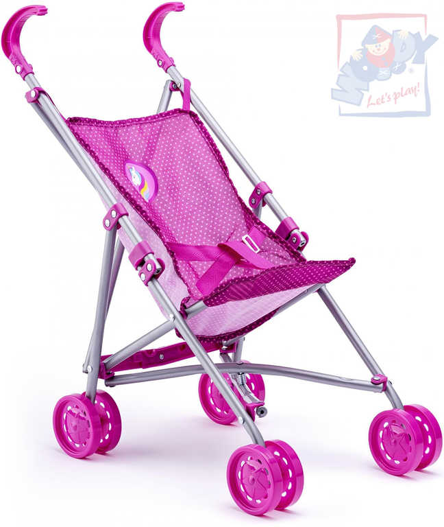 WOODY Kočárek růžový golfky jednorožec pro panenku miminko