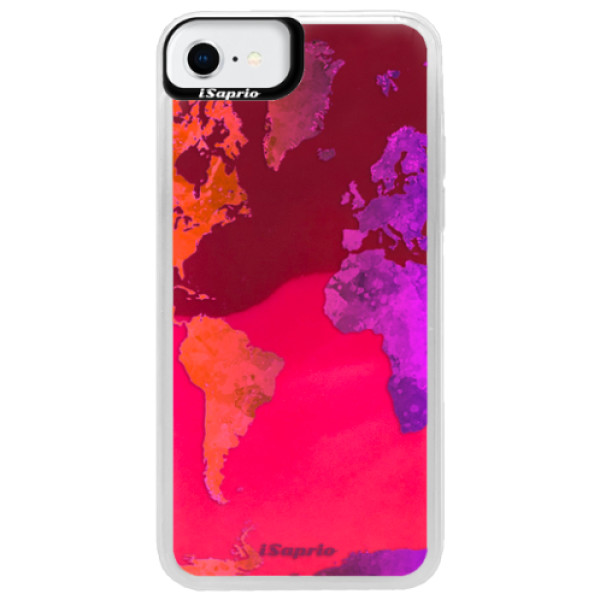 Neonové pouzdro Pink iSaprio - Warm Map - iPhone SE 2020