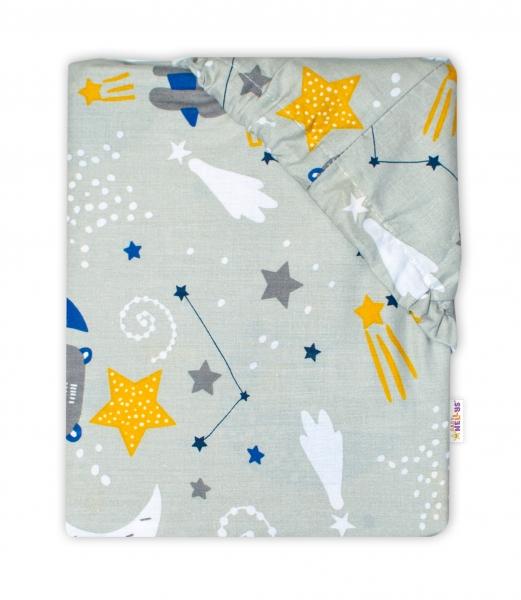 Baby Nellys Bavlněné prostěradlo 70 x 140 cm - Medvídek a hvězdy, šedé - 140x70