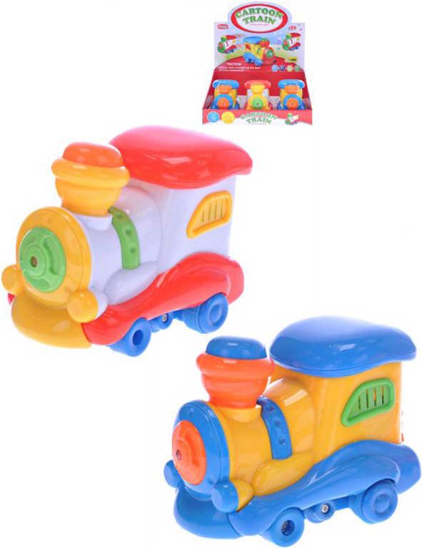 Baby lokomotiva 12cm na setrvačník na baterie 2 barvy Světlo Zvuk