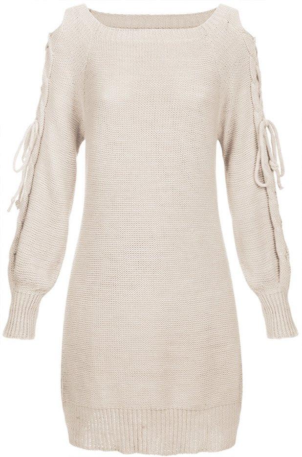 Béžový dámský svetr s vázáním na ramenou (113ART) - Béžová/ONE SIZE