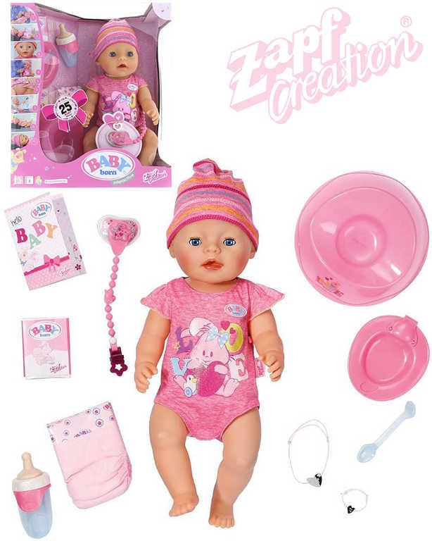 ZAPF BABY BORN Panenka interaktivní 43cm miminko s doplňky umí jíst, pít, plakat