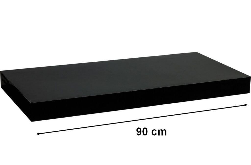 Nástěnná police STILISTA VOLATO - lesklá černá 90 cm