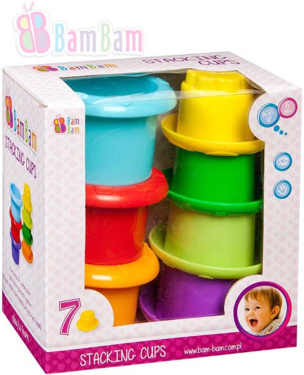 ET BAM BAM Kelímky skládací edukativní stavebnice set 7ks plast pro miminko